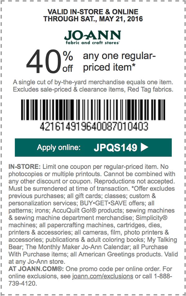 14 best coupons images on pinterest joann fabrics coupon and coupons jo ann fabric coupon jo ann fabric promo code from the coupons app off a single item at jo ann fabric or online via promo code january fandeluxe Images