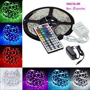 Minger Bande LED 5 mètres/16.4t 5050 SMD Ruban à LED Flexible RGB Bande Lumineuse 150 LEDs Eclairage Décoration Kit avec IR Télécommande de…