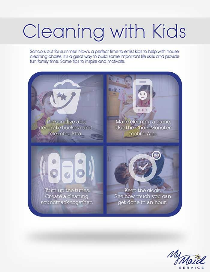 Cleaning with Kids Infographic  School's out for summer! Now's a perfect time to enlist kids to help with house cleaning chores. It's a great way to build some important life skills and provide fun family time. Here are some tips to inspire and motivate.