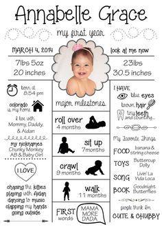 Year One infographiques première année de bébé par BabyFourOneOne
