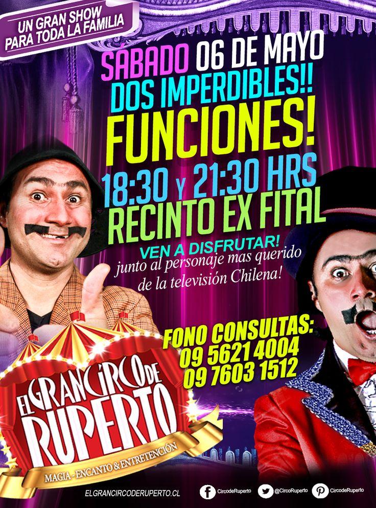 Atención Talca!! este Sábado sigue la diversión en recinto Ex Fital!! con Dos imperdibles funciones!!! adquiere tus entradas en las boleterías del Gran Circo de Ruperto!! te esperamos!!