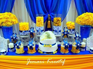 Jemari Kreatif Design: Candy Buffet - Royal Blue and Mustard Yellow Theme...
