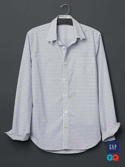Gap   GQ David Hart windowpane shirt - David Hart designs sophisticated clothing with a nod to the past. Inspired by the classic midcentury American uniform, Hart updates the impeccable tailoring of the 50s and 60s with modern fabrics and colors. Think suits, topcoats, sweaters, and polos that are retro (without living in the past) and razor sharp (yet easy to pull off).