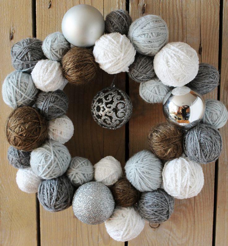 Christmas silver yarn ball wreath