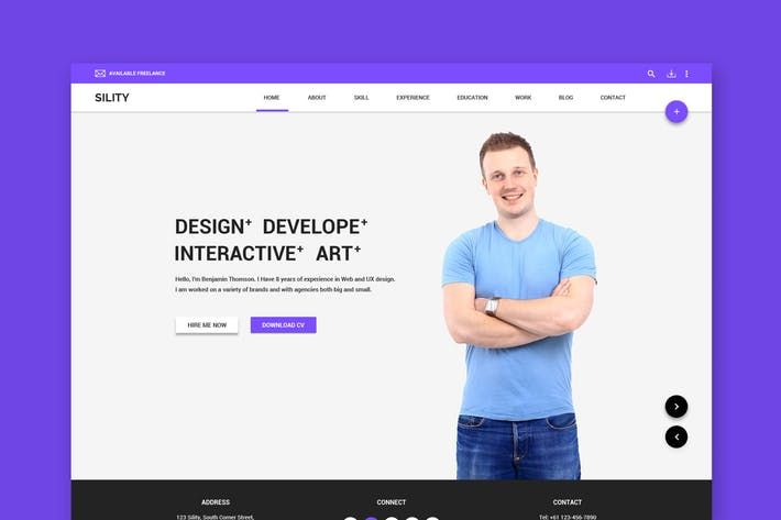 Sility - Material Design Vcard & CV PSD Template by WPmines