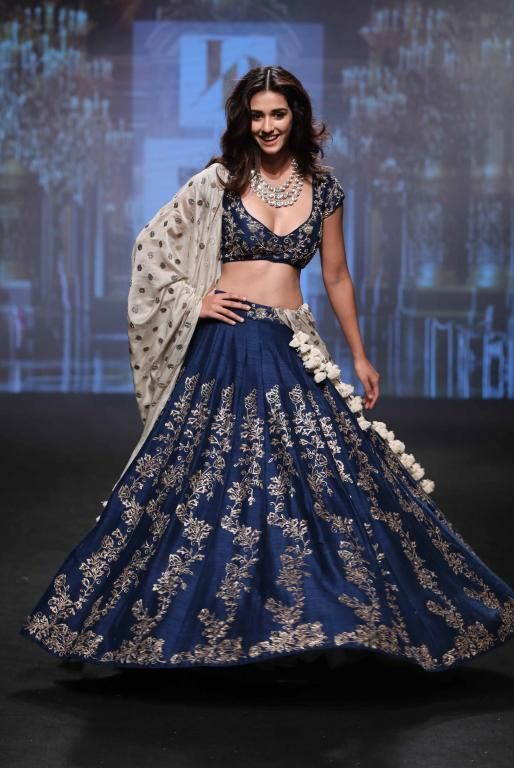 My personal favorite outfit in Lakme Fashion Week Summer/Resort 2017. Disha Patani rocks the midnight blue lehenga look for Jayanti Reddy #Frugal2Fab