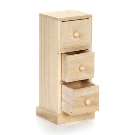 Small Wood Cabinet Tower With Three Drawers 3 54 X 15 8 2 Inches Image 1 Of