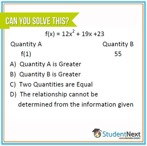 A Sample Question like this will make you understand the basics of GRE. #Math #GRE #studentnext #GREquant #GREmath  Post the answer below http://studentnext.com/blog/-/blogs/question-of-the-day-for-09th-feb-2015  Get the best preparation by joining http://studentnext.com/
