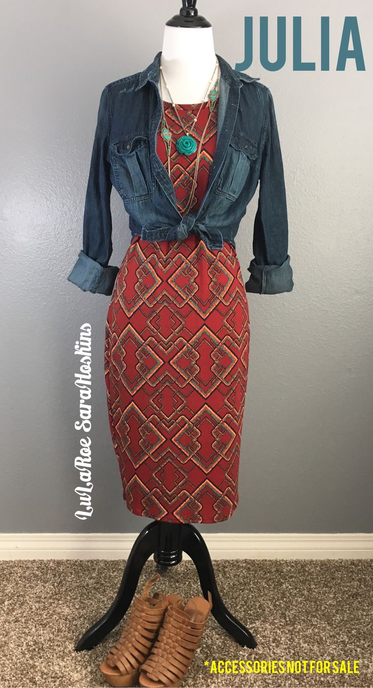 LuLaRoe Julia Dress paired with a knotted denim shirt. #lularoejuliadress #LuLaRoeSaraHoskins