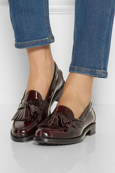 Heel measures approximately 25mm/ 1 inch Burgundy polished-leather Slips on