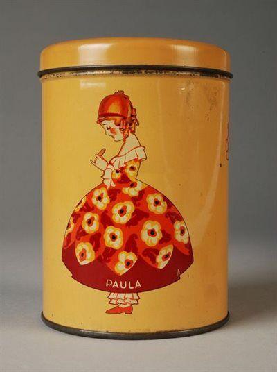 """Rond blik met los deksel, """"Paula"""", donkergeel Round tin with loose lid, """"Paula"""", dark yellow"""