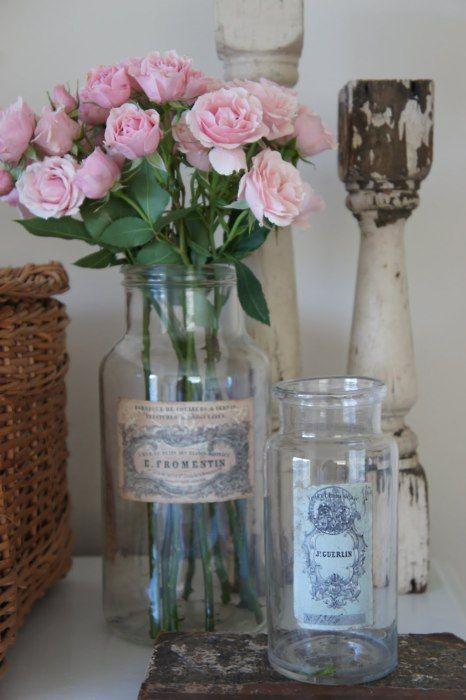 vignette: Pink Flowers, Vintage Jars, Vintage Labels, Shabby Chic, Vintage Bottle, Vintage Vase, Pink Rose, Old Bottle, Mason Jars