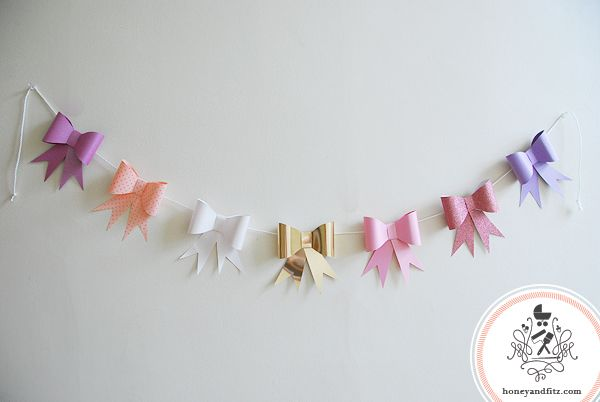 paper bow garland, for birthday party, baby shower, or christmas