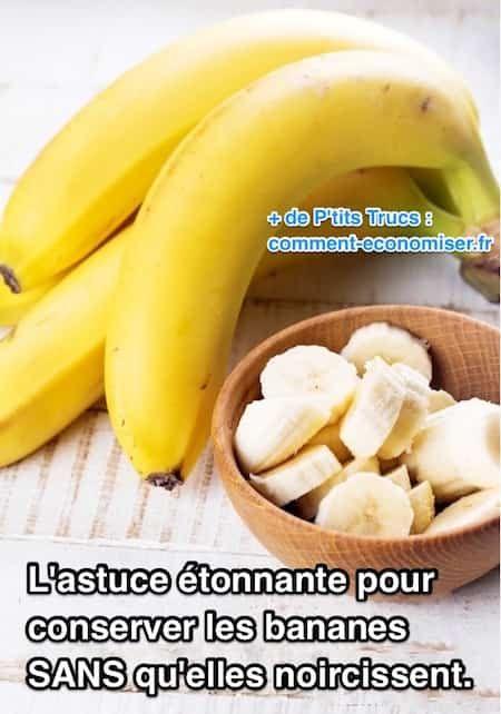 Comme je déteste le gâchis, j'ai trouvé une astuce pour conserver les bananes fraîches plus longtemps. L'astuce est d'entourer la tige avec du film alimentaire. Et ça donne des résultats étonnants ! Regardez :-)  Découvrez l'astuce ici : http://www.comment-economiser.fr/astuce-pour-conserver-bananes-sans-qu-elles-noircissent.html?utm_content=bufferf8c9e&utm_medium=social&utm_source=pinterest.com&utm_campaign=buffer