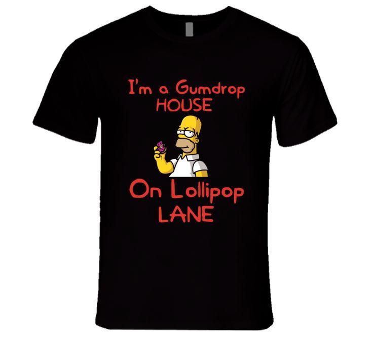 Funny Homer Simpson Gumdrop House Lollipop Lane The Simpsons Fun T-Shirt