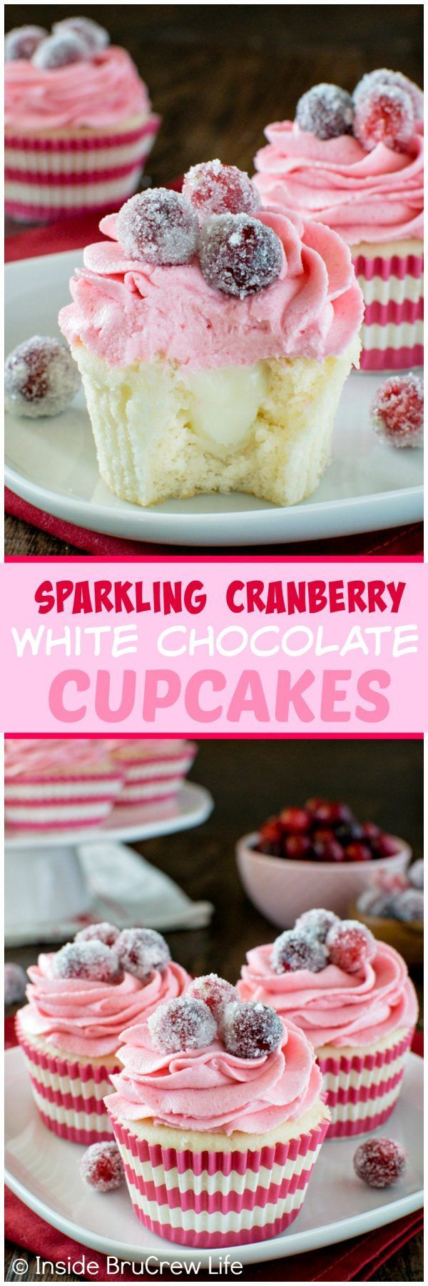 Sparkling Cranberry White Chocolate Cupcakes - a hidden creamy center & fresh berry frosting makes these cupcakes a fun recipe to make for your holiday dessert tables.