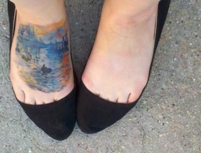 Monet's Impression, Sunrise tattooed by Sarah at Oni Tattoo in Salt Lake City.