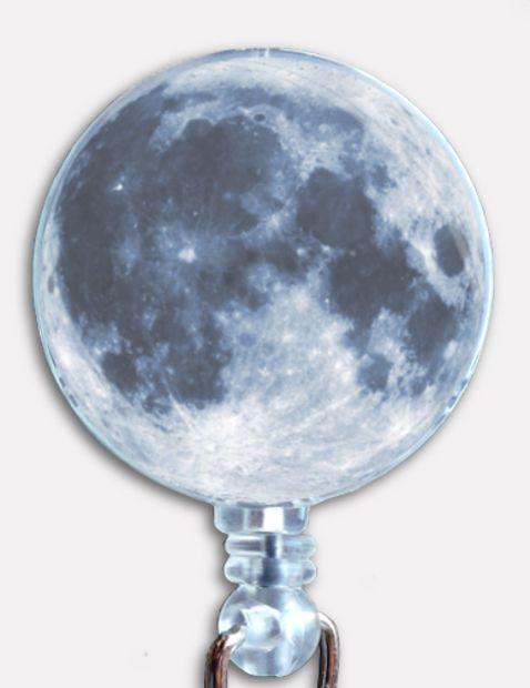 Custom Moon Badge Reel As Seen From Planet Earth Retractable ID Name Holder #Handmade