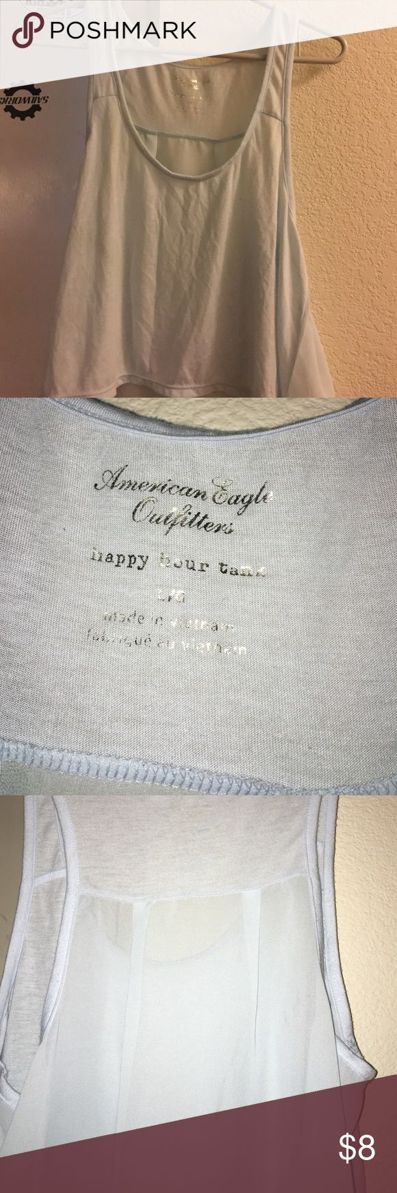 Baby blue sheer American eagle happy hour tank Worn once, no stains or holes, sheer back, a little higher in front than back American Eagle Outfitters Tops Tank Tops