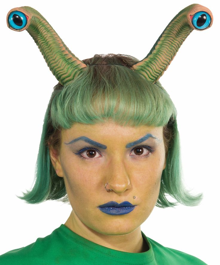 Our Alien Eyes includes a plastic headband with attached green molded antennae with round blue eyeballs. It will give you the appearance of having an extra set of extraterrestrial eyes above your head like antennae. Our Alien Eyes Headband is an ideal headpiece accessory for enhancing your sci-fi, alien or martian costume. One size fits most teens and adults.