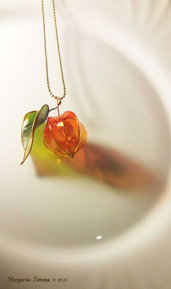 Amazing resin art! Physalis with leaf. Necklace. Resin jewelry.