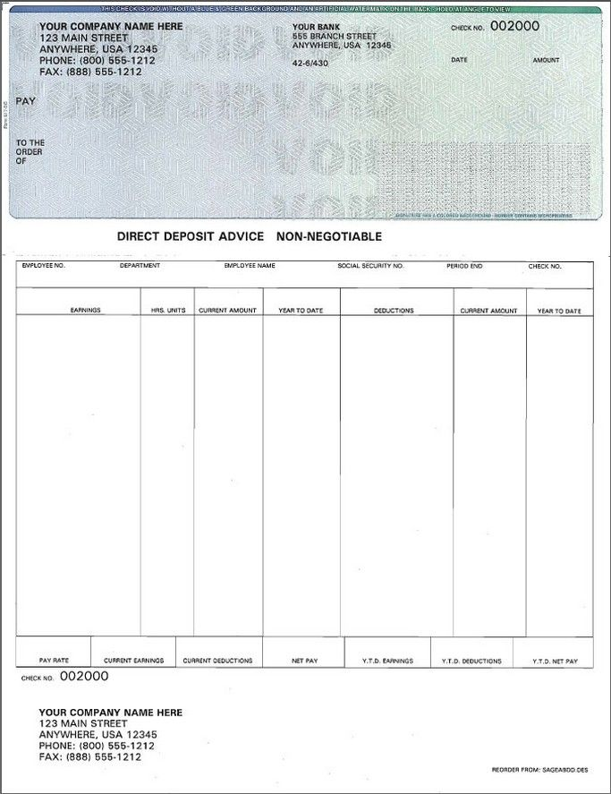 Free Paycheck Stub Template | Check On Top Format Payroll Check