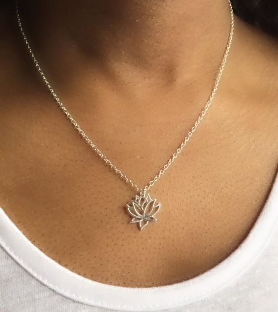 Lotus Necklace, Silver Lotus Necklace, Lotus Pendant, Layering Necklace, Boho Necklace, UK Seller by Instyleglamour on Etsy