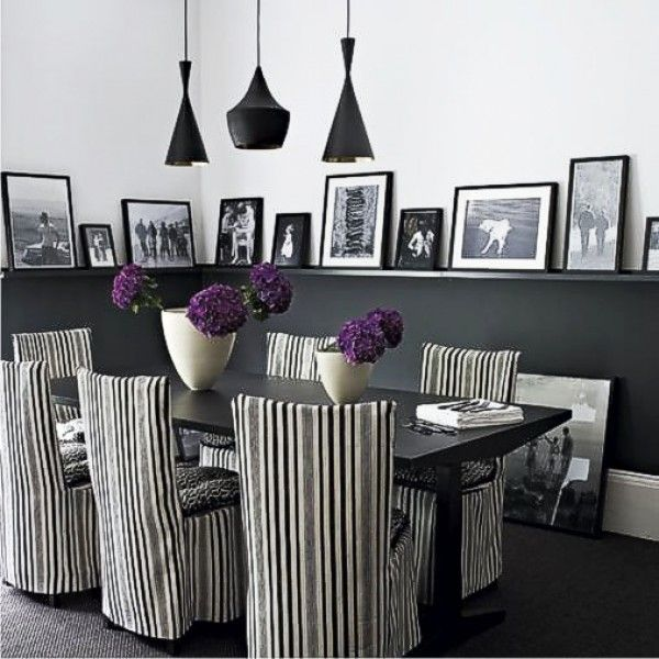 Nice Use Of The Chair Rail In This Black And White Dining Room