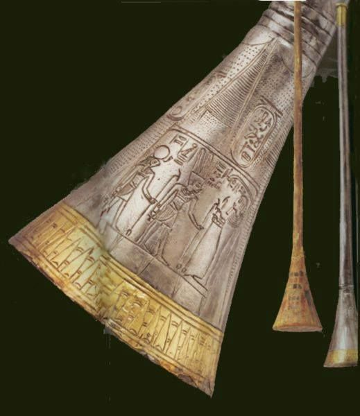 King Tutankhamun's Trumpets, Approximately 1355 to 1346 BC. Trumpets over 3,300 years old, discovered in the tomb of the ancient Egyptian king, Tutankhamun. These instruments are the only two surviving trumpets from ancient #Egypt.