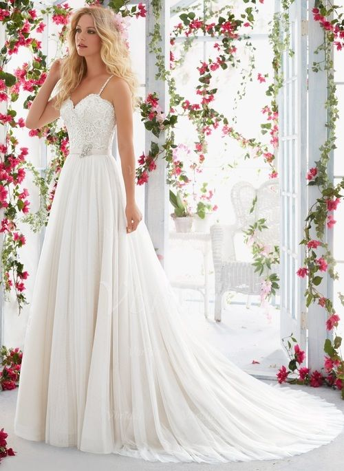 Wedding Dresses - $198.00 - A-Line/Princess Sweetheart Court Train Tulle Wedding Dress With Beading Appliques Lace (0025097098)