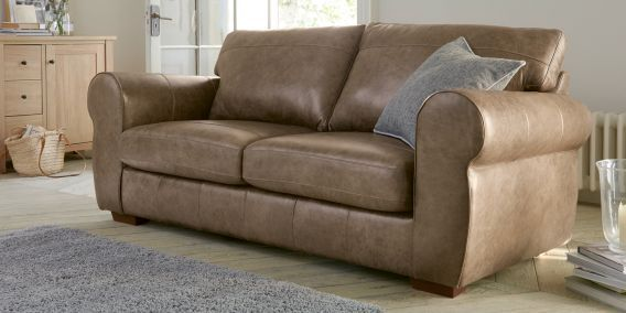 Buy Marseille Leather Large Sofa (3 Seats) Santiago Mid Brown Small Slim Block - Standard from the Next UK online shop