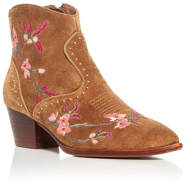 Ash Heidi Embroidered Pointed Toe Booties ($290) ❤ liked on Polyvore featuring russet, black booties, black ankle booties, ash boots, leather upper boots and embroidered boots