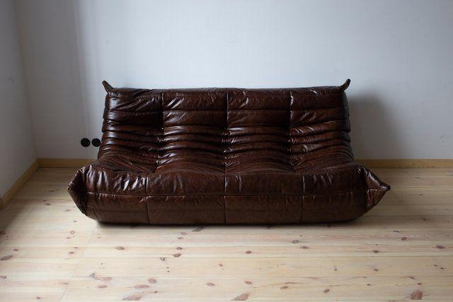 Vintage Brown Leather 3 Seater Togo Sofa By Michel Ducaroy For Ligne Roset 1970s Togo Sofa Ligne Roset Vintage Brown