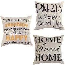 """Low Price """"You are my Sunshine """"Cotton Linen Leaning Cushion Throw Pillow Covers Pillowslip Case Good Design 45*45 cm(China (Mainland))"""