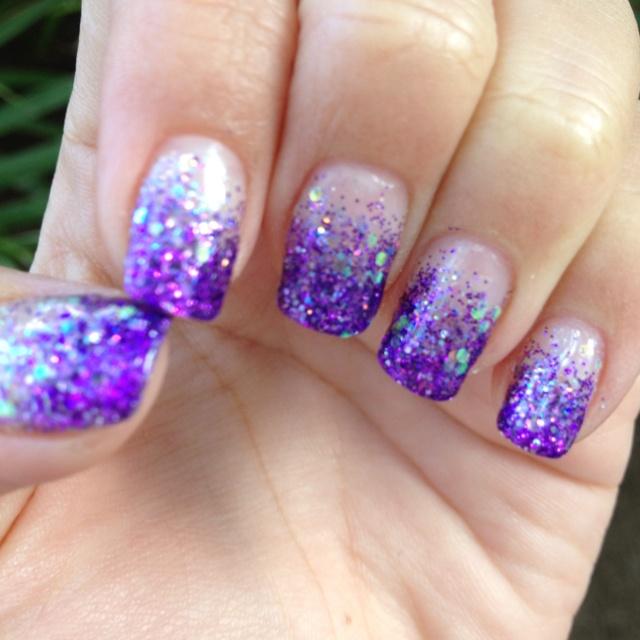 Purple Nail Designs For Prom: My Calgel Purple Glitter Fade Nails :))