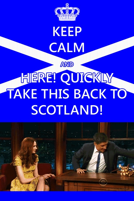 "TAKE THIS BACK TO SCOTLAND!""Craig  Ferguson with Karen Gillian(Amy Pond  Doctor Who)"