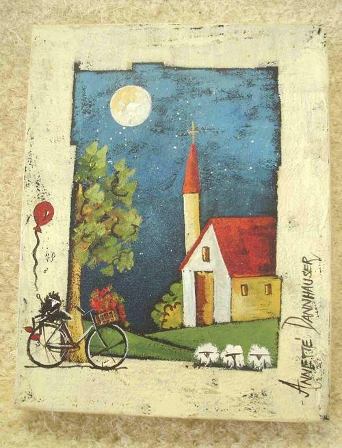 Original Annette Dannhauser Farm Bicycle Landscape Painting ...