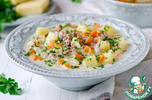 Чизбургер-суп с мясным фаршем и сыром - кулинарный рецепт