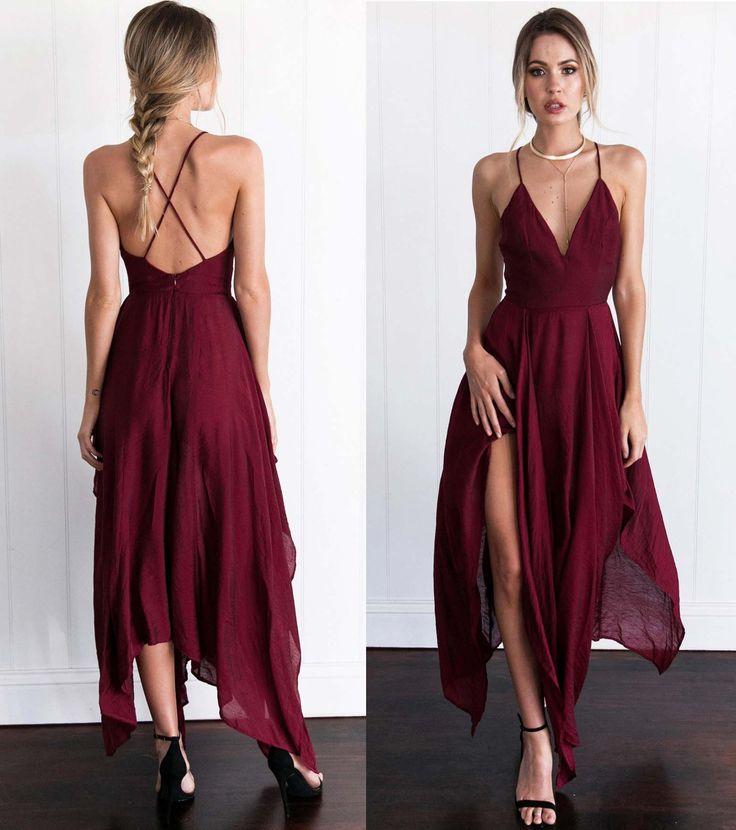 New Arrival Cross Back Wine Red Assymetrical hem Long Prom/Evening Dress,Braces dress,Sexy dress,Split at lower part of dress