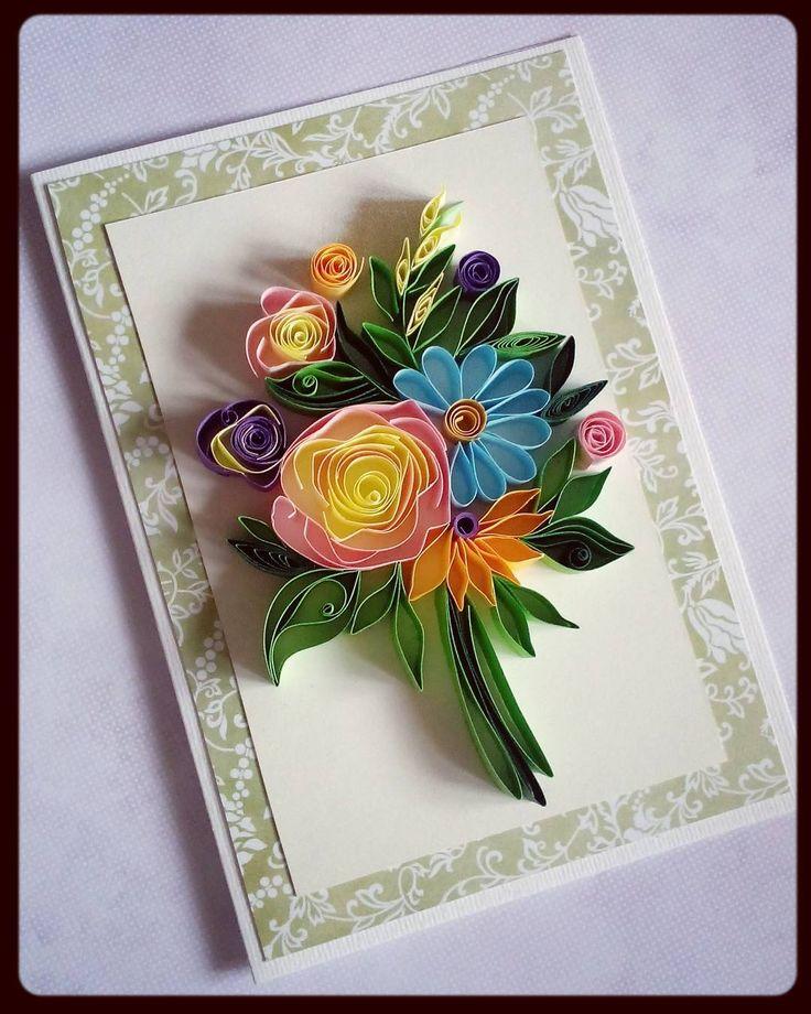 Открытки из квиллинга с цветами
