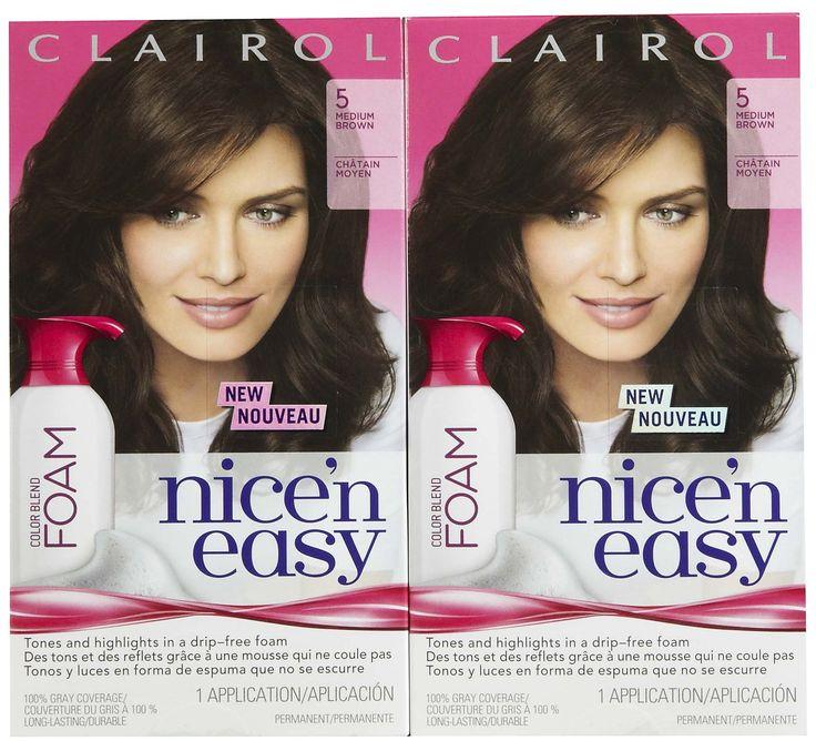 Clairol Nice 'n Easy Color Blend Foam Hair Color, 5, Medium Brown, 2 pk. Clairol Nice 'n Easy Color Blend Foam Hair Color, 5, Medium Brown, 2 pk.