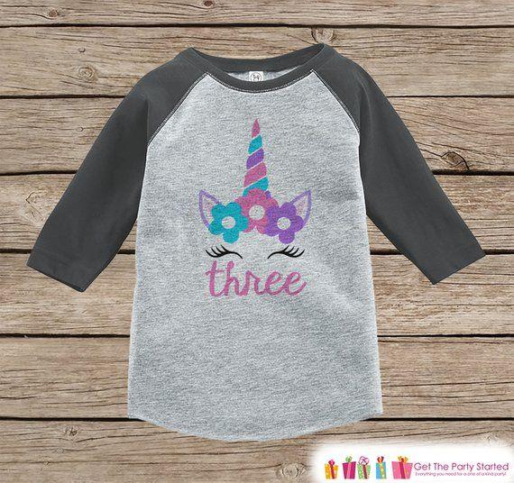 Floral 3rd Birthday Outfit Girl/'s Birthday Shirt Toddler Girls 3rd Birthday Raglan Three Shirt 3rd Birthday Tee Floral Wreath Three Shirt