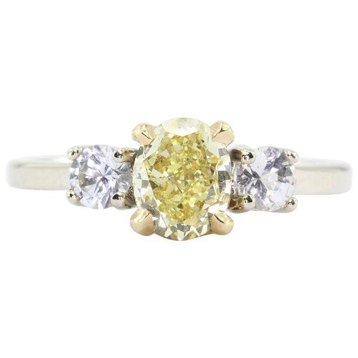 GIA 1.01 Fancy Intense Yellow Oval Cut Diamond Engagement 14K Gold Ring