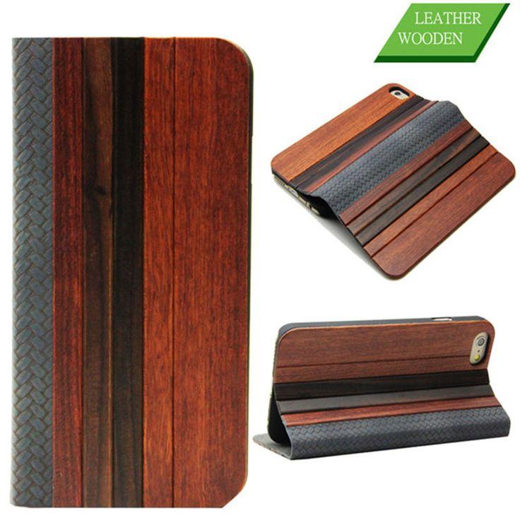 Hout echte lederen case voor de iphone 6 6s 4,7 inch mode splice  houten telefoon tas hoes staan traditionele ambachtelijke flip card slot in    van telefoon zakken en koffers op AliExpress.com   Alibaba Groep; 12,49
