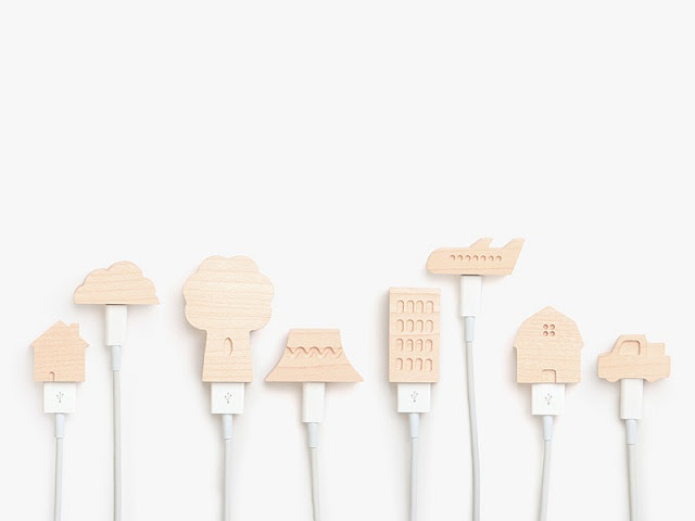 wooden-caps-for apple charger cable