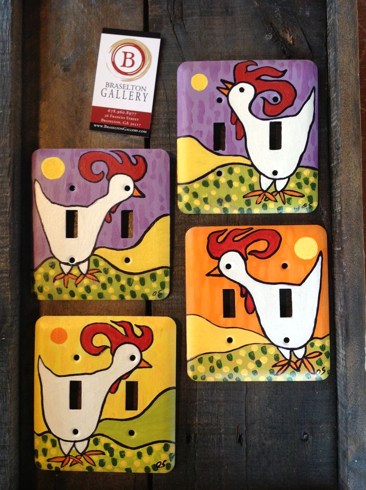 Hand painted rooster double switch plate covers by Debra Swantek.