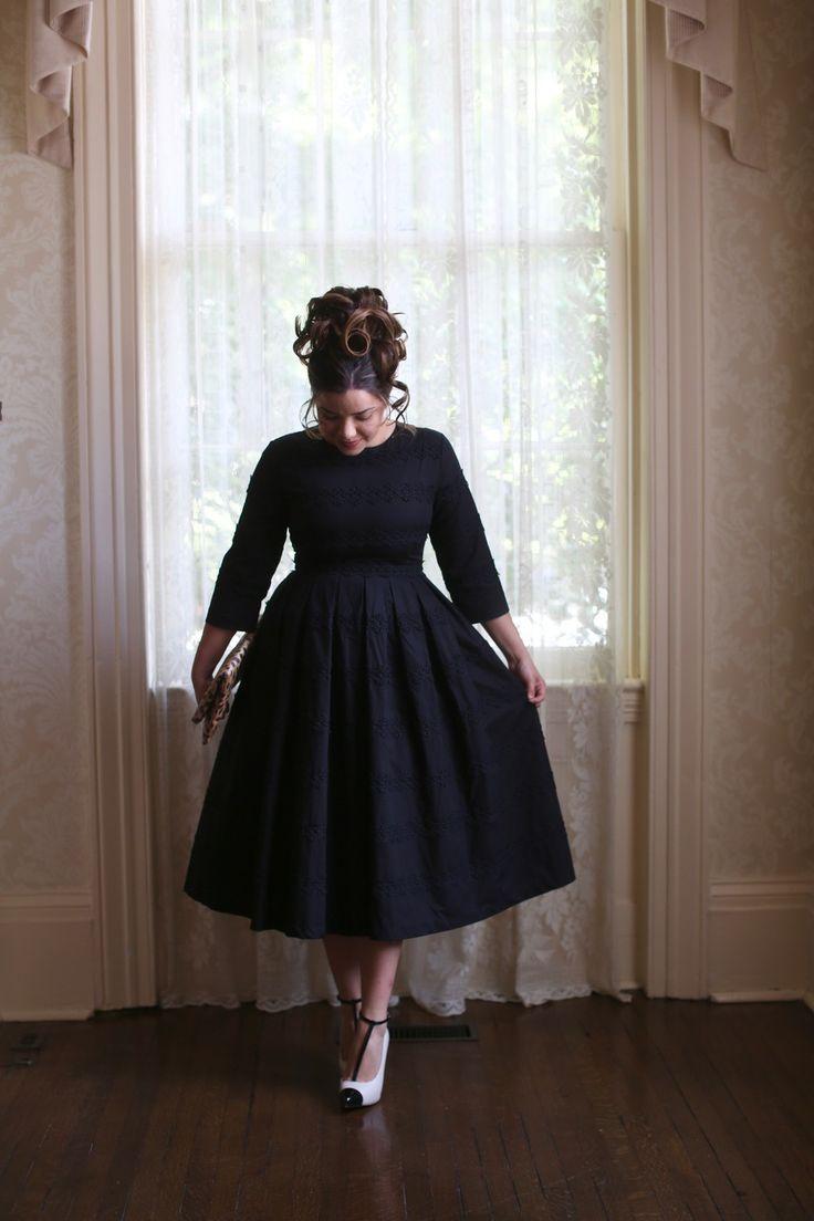 Modest black dress of rows of black Venetian lace: the Hepburn Classic dress. Modest bridesmaids dresses, ruffles, lace, www.daintyjewells.com