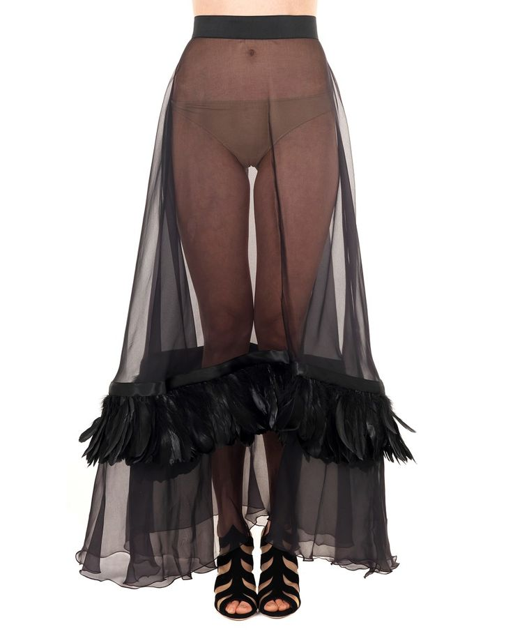 DOMENICO CIOFFI LONG SILK SKIRT WITH FEATHERS S/S 2016 Black long silk skirt  high waist  transparent fabric feathers applied  back closure with button and zipper  100% Silk