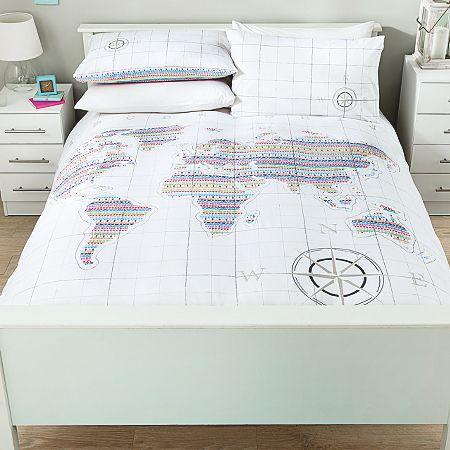 George Home Colourful World Map Duvet Set