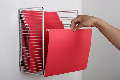 Any rack, whether meant to hang this way or stand like a shelf, could be adapted for this use